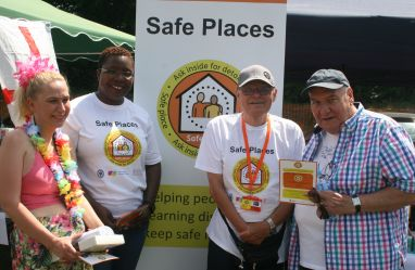 Malcom Stent vistis the Safe Place stand with Lion President Andrea Lees